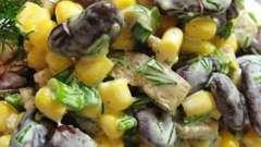 Готовим вместе салат с фасолью и ветчиной и сухариками