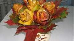 Как сделать красивые осенние букеты своими руками в виде шикарных роз? Пошаговое руководство
