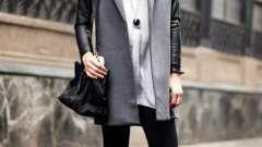 Модное и универсальное пальто с кожаными рукавами