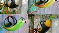 Поделки из шин своими руками: кашпо-попугай