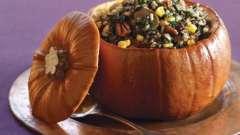 Рецепт: фаршированная тыква с мясом, с овощами, с сухофруктами