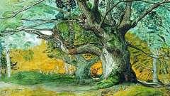 Рисованные деревья. Краски, карандаш и гуашь