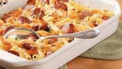 Вкусное блюдо - запеканка из макарон с колбасой